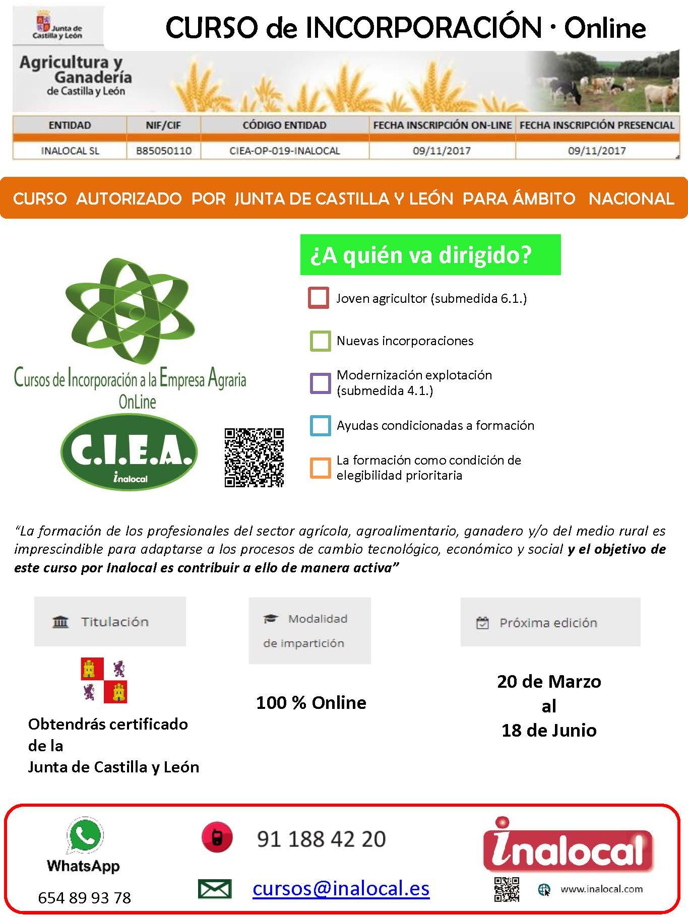 Curso Online de incorporación a la empresa agraria
